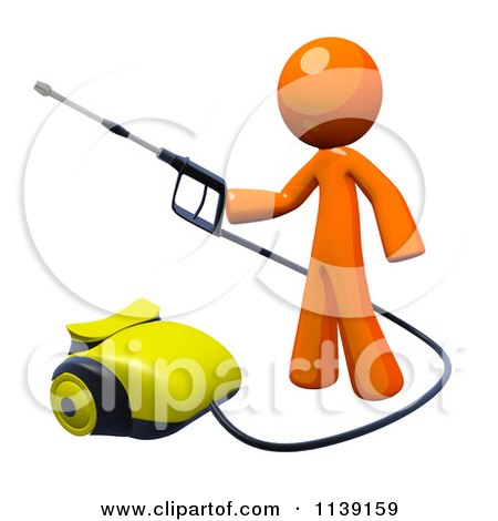 Clipart Of A 3d Orange Man Operating A Pressure Washer 1 - Royalty Free CGI Illustration by Leo Blanchette