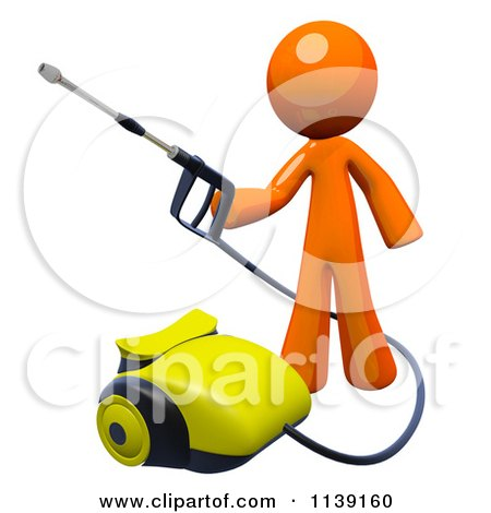 Clipart Of A 3d Orange Man Operating A Pressure Washer 2 - Royalty Free CGI Illustration by Leo Blanchette