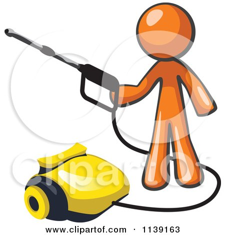 Clipart Of A Orange Man Operating A Pressure Washer - Royalty Free Vector Illustration by Leo Blanchette