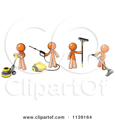Clipart Of Orange Men Operating A Pressure Washer Floor Buffer Window Cleaner And Carpet Cleaner - Royalty Free Vector Illustration by Leo Blanchette