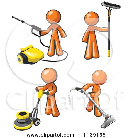 Clipart Of Orange Janitor Men Operating A Pressure Washer Floor Buffer Window And Carpet Cleaner - Royalty Free Vector Illustration by Leo Blanchette