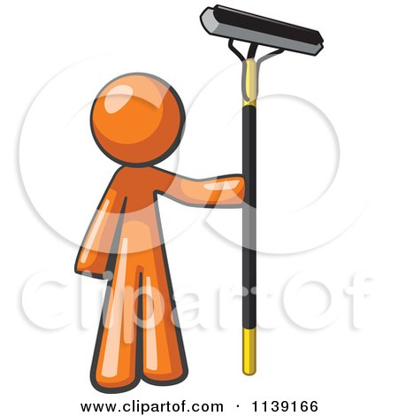 Clip Art Clipartof clipart of a orange man window cleaner royalty free vector illustration by leo blanchette