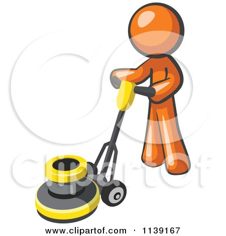 Clipart Of A Orange Man Buffing A Floor - Royalty Free Vector Illustration by Leo Blanchette