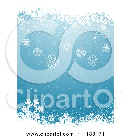 Clipart Of A Blue Snowflake And Christmas Bauble Background - Royalty Free Vector Illustration by KJ Pargeter