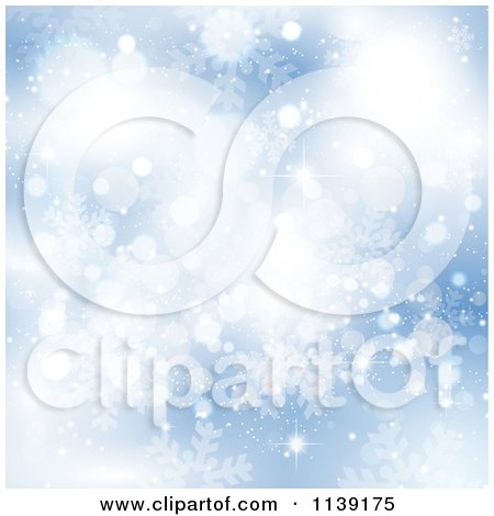 Clipart Of A Blue Blur Snowflake And Bokeh Background - Royalty Free Vector Illustration by KJ Pargeter