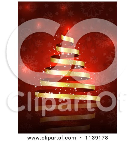 Clipart Of A Magical Gold Ribbon Christmas Tree Over Red Snowflakes - Royalty Free Vector Illustration by KJ Pargeter
