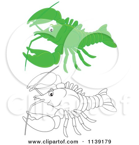 Cartoon Of A Cute Green And Black And White Lobster - Royalty Free Vector Clipart by Alex Bannykh