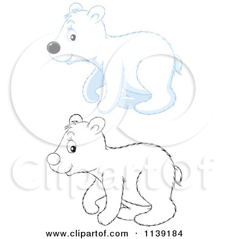 Cartoon Of A Cute Colored And Black And White Polar Bear Cub - Royalty Free Vector Clipart by Alex Bannykh