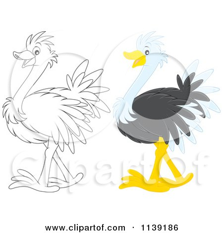 Cartoon Of A Cute Colored And Black And White Baby Ostrich - Royalty Free Vector Clipart by Alex Bannykh