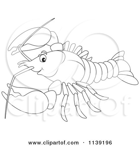 Cartoon Of A Cute Black And White Lobster - Royalty Free Vector Clipart by Alex Bannykh