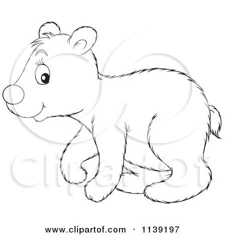 Cartoon Of A Cute Black And White Polar Bear Cub - Royalty Free Vector Clipart by Alex Bannykh