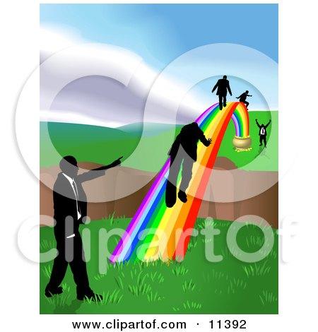 Men Walking on a Rainbow to Cross a Ravine Posters, Art Prints