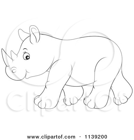Cartoon Of A Cute Outlined Baby Rhino - Royalty Free ...