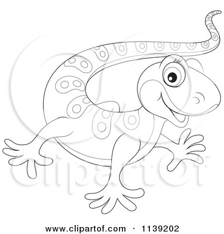 Cartoon Of A Cute Black And White Baby Gecko - Royalty Free Vector Clipart by Alex Bannykh