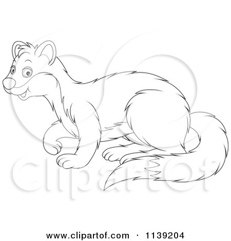 Cartoon Of A Cute Black And White Weasel - Royalty Free Vector Clipart by Alex Bannykh