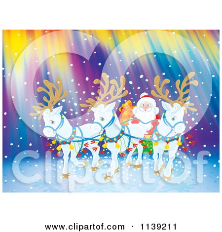 Cartoon Of White Reindeer Pulling Santas Sleigh Against Northern Lights - Royalty Free Clipart by Alex Bannykh