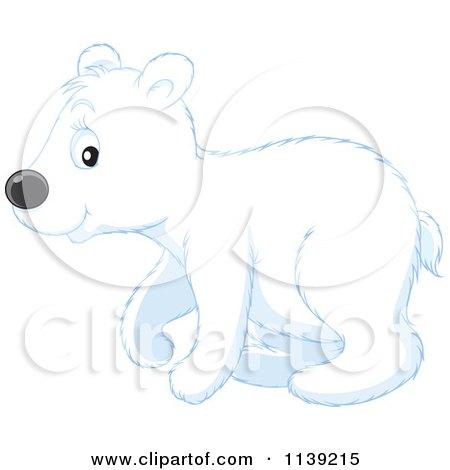 Cartoon Of A Cute Walking Polar Bear Cub - Royalty Free Vector Clipart by Alex Bannykh