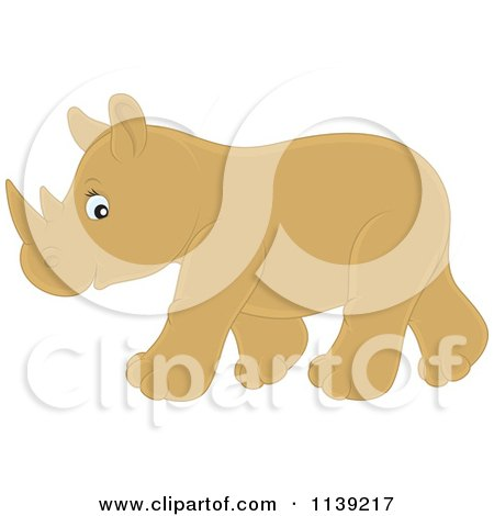 Cartoon Of A Cute Brown Baby Rhino - Royalty Free Vector Clipart by Alex Bannykh