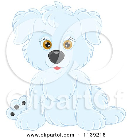 Cartoon Of A Cute White Puppy - Royalty Free Vector Clipart by Alex Bannykh