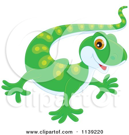 Cartoon Of A Cute Green Baby Gecko Royalty Free Vector
