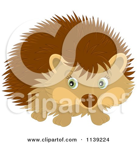 Cartoon Of A Cute Brown Hedgehog - Royalty Free Vector Clipart by Alex Bannykh