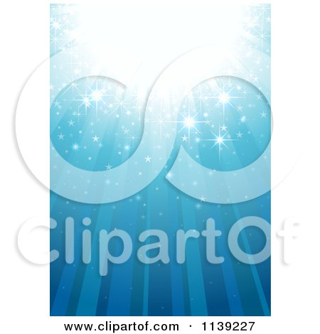 Clipart Of A Blue Magic Background With Rays And Sparkles - Royalty Free Vector Illustration by dero