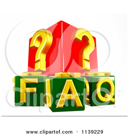 Clipart Of 3d Green And Red Faq And Question Mark Cubes - Royalty Free CGI Illustration by MacX