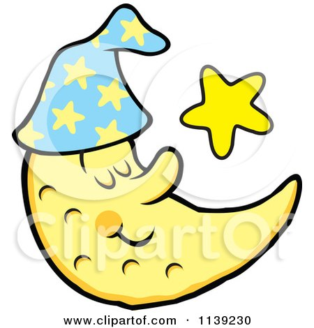 Cartoon Of A Content Sleeping Crescent Moon And Star - Royalty Free Vector Clipart by Johnny Sajem