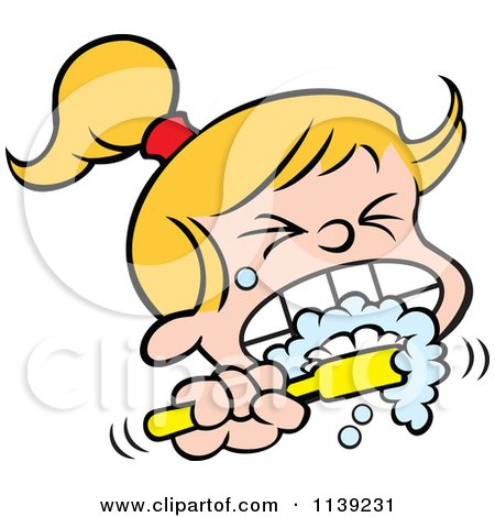 Cartoon Of A Blond Girl Aggressively Brushing Her Teeth - Royalty Free Vector Clipart by Johnny Sajem