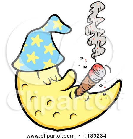 Cartoon Of A Crescent Moon Man Smoking A Cigar - Royalty Free Vector Clipart by Johnny Sajem