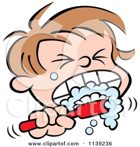 Cartoon Of A Boy Aggressively Brushing His Teeth - Royalty Free Vector Clipart by Johnny Sajem