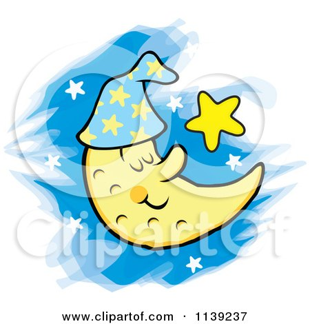 Cartoon Of A Content Sleeping Crescent Moon And Stars - Royalty Free Vector Clipart by Johnny Sajem