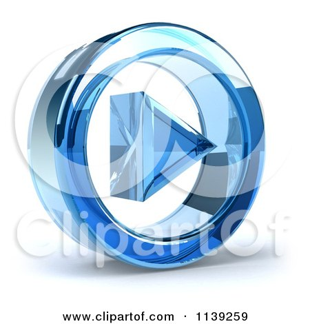 Clipart Of A 3d Blue Glass Play Button Icon On White 2 - Royalty Free CGI Illustration by Julos
