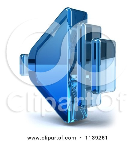 Clipart Of A 3d Blue Glass Speaker Icon On White - Royalty Free CGI Illustration by Julos