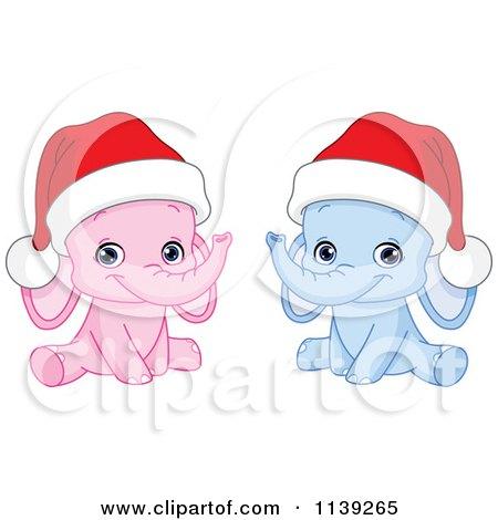 Cartoon Of Cute Pink And Blue Baby Elephants Wearing Santa Hats - Royalty Free Vector Clipart by yayayoyo