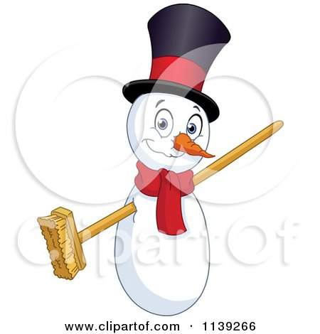 Cartoon Of A Christmas Snowman With A Broom For Arms - Royalty Free Vector Clipart by yayayoyo