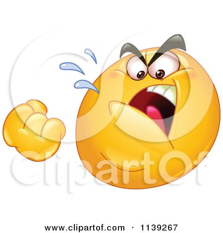 Cartoon Of A Mad Emoticon Threatening With A Fist - Royalty Free Vector Clipart by yayayoyo