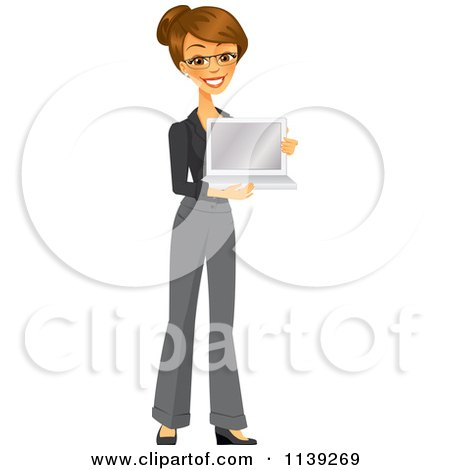 Clipart Of A Happy Brunette Businesswoman Holding A Laptop - Royalty Free Vector Illustration by Amanda Kate
