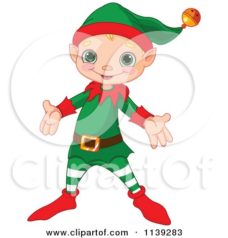 Cartoon Of A Cute Happy Christmas Elf - Royalty Free Vector Clipart by Pushkin