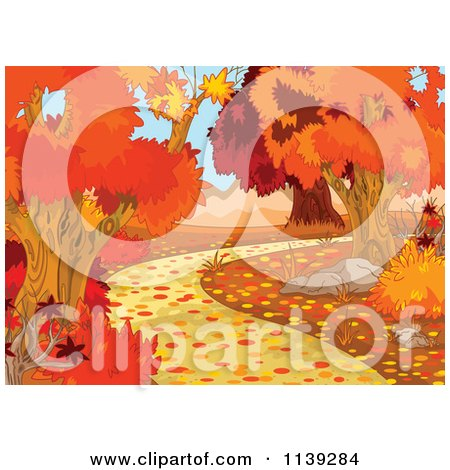 Cartoon Of An Autumn Background Of Blushing Trees And A Path - Royalty Free Vector Clipart by Pushkin