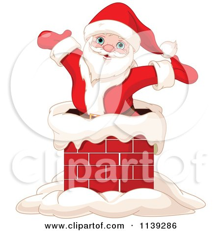 Cartoon Of A Jolly Santa Popping Out Of A Chimney - Royalty Free Vector Clipart by Pushkin