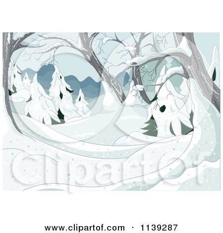 Cartoon Of A Winter Background Of Snow Covered Trees - Royalty Free Vector Clipart by Pushkin