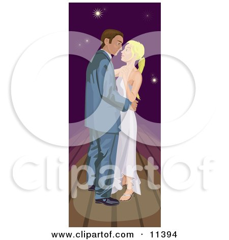 Young Romantic Couple Dancing Under a Night Sky Posters, Art Prints