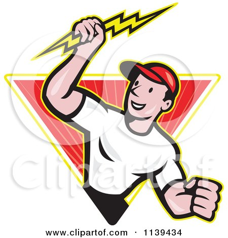 Clipart Of A Retro Electrician Holding A Bolt In A Ray Diamond - Royalty Free Vector Illustration by patrimonio