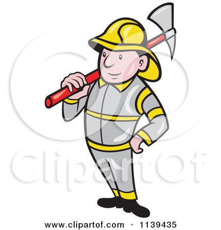 Clipart Of A Retro Fireman With An Axe - Royalty Free Vector Illustration by patrimonio