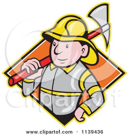 Clipart Of A Retro Fireman With An Axe Over A Diamond - Royalty Free Vector Illustration by patrimonio