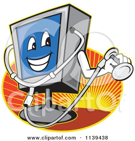 Clipart Of A Computer Monitor Mascot Holding A Diagnostics Stethoscope Over Rays - Royalty Free Vector Illustration by patrimonio