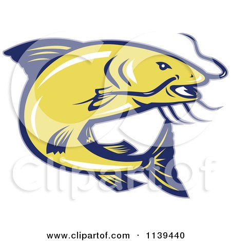 Clipart Of A Retro Jumping Yellow And Blue Catfish - Royalty Free Vector Illustration by patrimonio