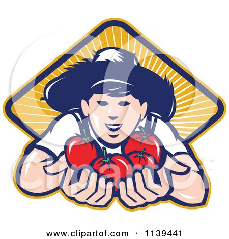 Clipart Of A Farmer Boy Holding Out Tomatoes Over A Diamond Of Rays - Royalty Free Vector Illustration by patrimonio