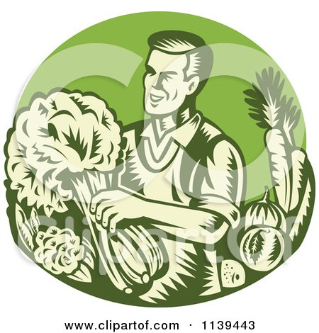 Clipart Of A Retro Woodcut Green Organic Farmer With With Produce - Royalty Free Vector Illustration by patrimonio
